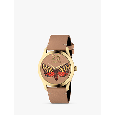 Gucci YA1264063 Women's G-Timeless Leather Strap Watch, Tan