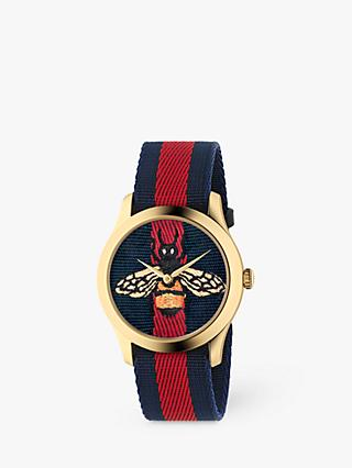 Gucci YA1264061A Unisex G-Timeless Fabric Strap Watch, Blue/Red