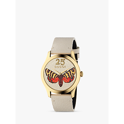 Gucci YA1264062A Women's G-Timeless Leather Strap Watch, White