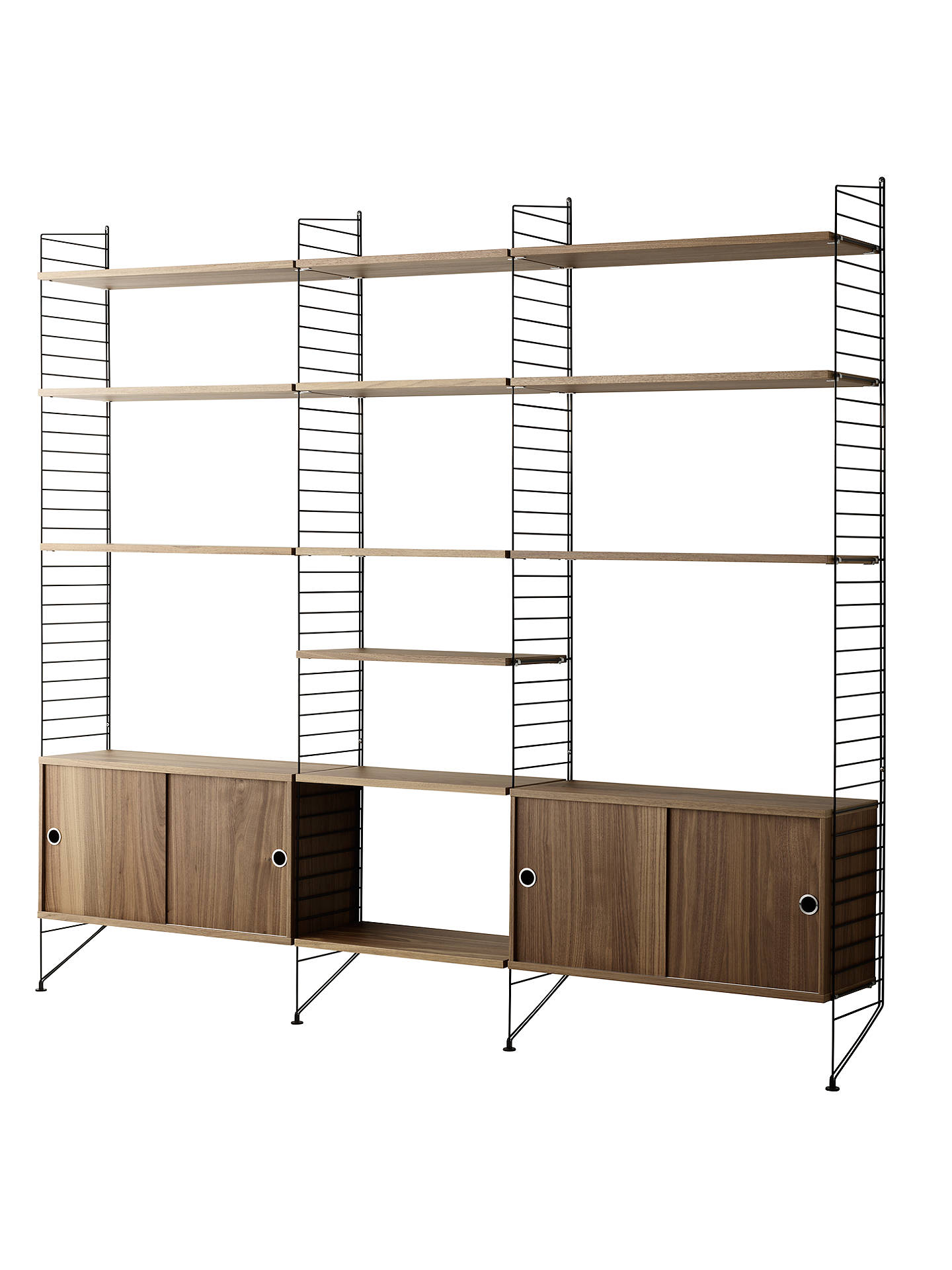 c09b7873b023 Buy string Shelving Unit with Double Cabinets, Shelves and Wall Fastened  Side Racks, Walnut ...