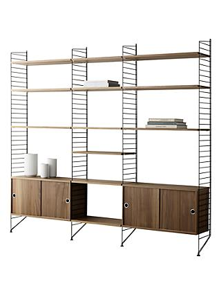 string Shelving Unit with Double Cabinets, Shelves and Wall Fastened Side Racks, Walnut/Black