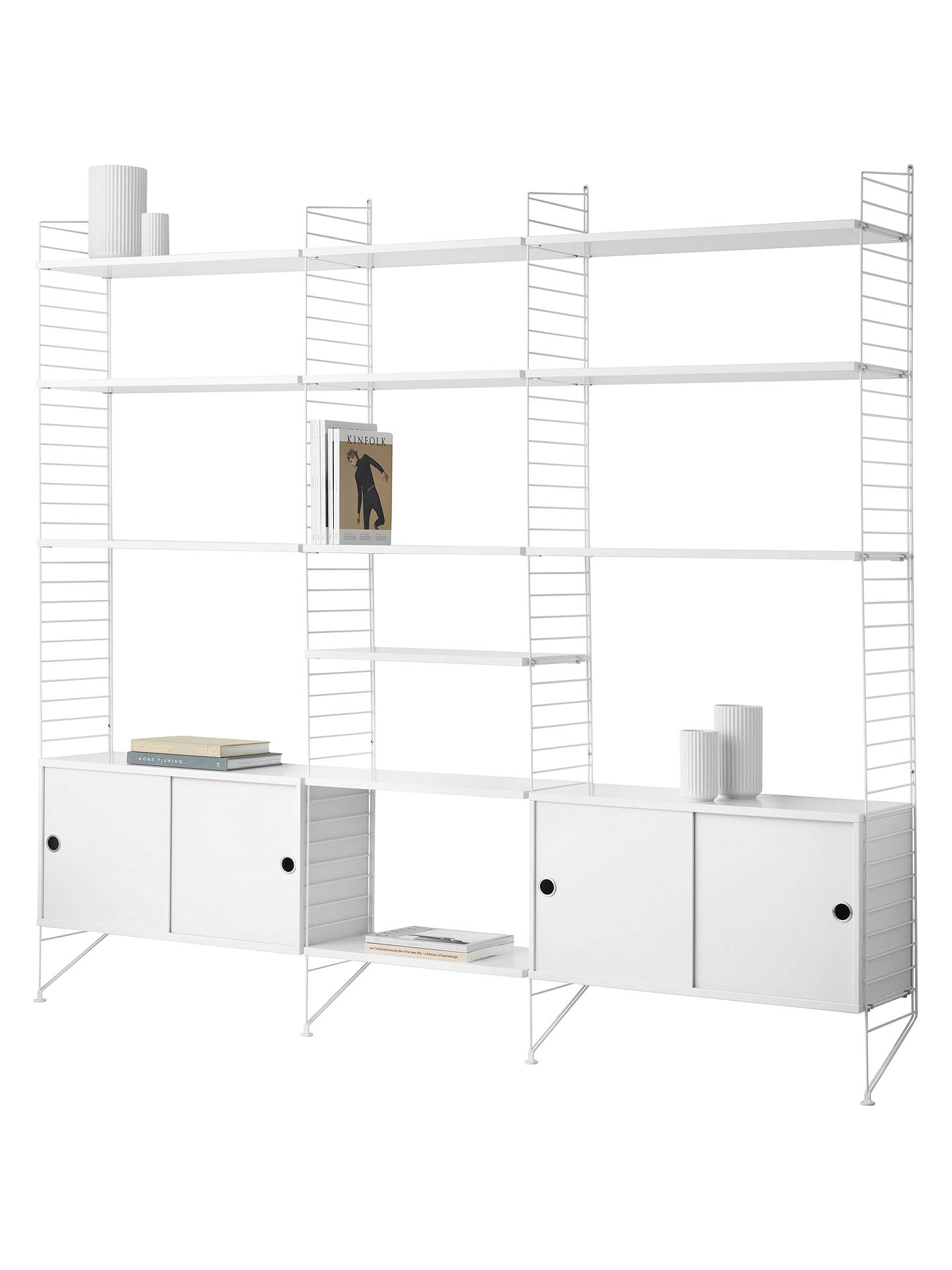 Buystring Shelving Unit with Double Cabinets, Shelves and Wall Fastened Side Racks, White Online at johnlewis.com