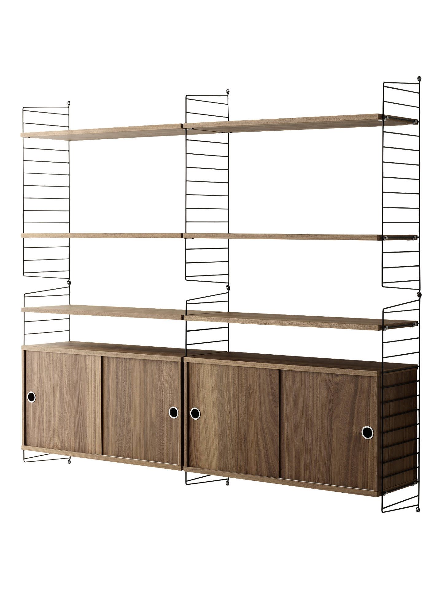 Buystring Shelving Unit with Double Cabinets and Wall Fastened Side Racks, Walnut/Black Online at johnlewis.com