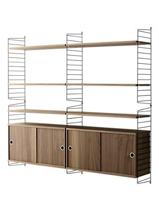 string Shelving Unit with Double Cabinets and Wall Fastened Side Racks, Walnut/Black