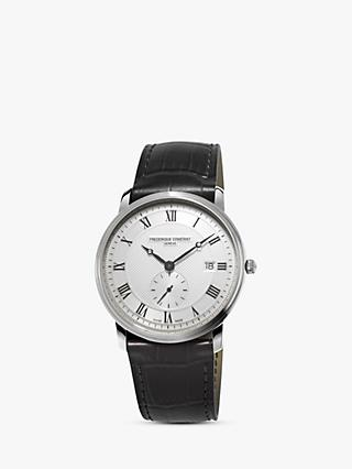 Frédérique Constant FC-245M5S6 Men's Slimline Date Leather Strap Watch, Black/White