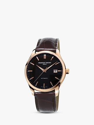 Frédérique Constant FC-303C5B4 Men's Classic Index Automatic Date Leather Strap Watch, Brown/Black