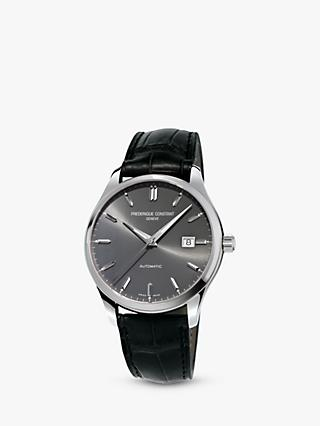 Frédérique Constant FC-303LGS5B6 Men's Classic Index Automatic Date Leather Strap, Black/Grey