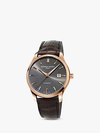 Frédérique Constant FC-303LGR5B4 Men's Classic Index Automatic Date Leather Strap Watch, Brown/Grey