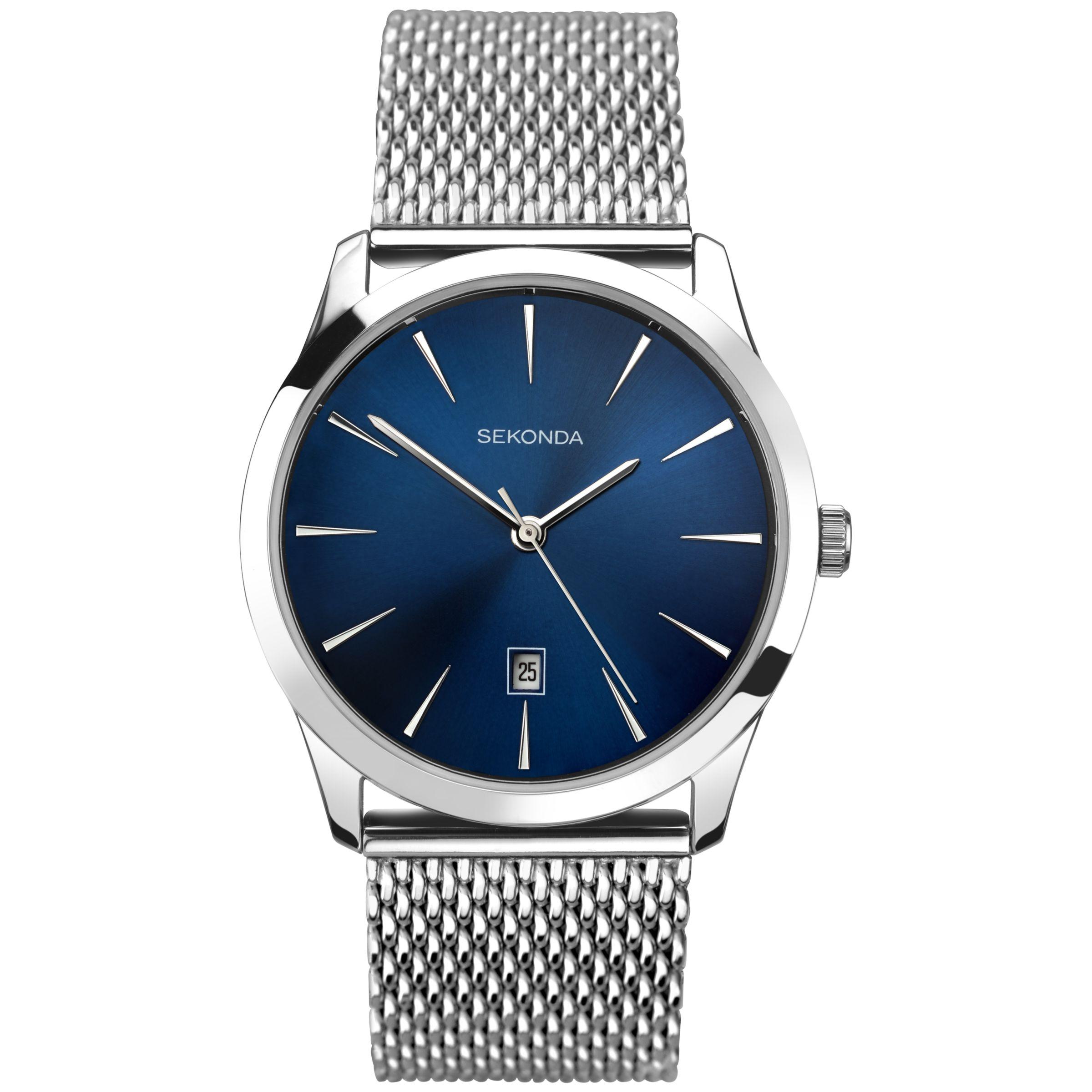 Sekonda Sekonda 1065.27 Men's Date Bracelet Strap Watch, Silver/Blue