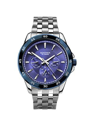 Sekonda 1391.27 Men's Chronograph Bracelet Strap Watch, Silver/Blue