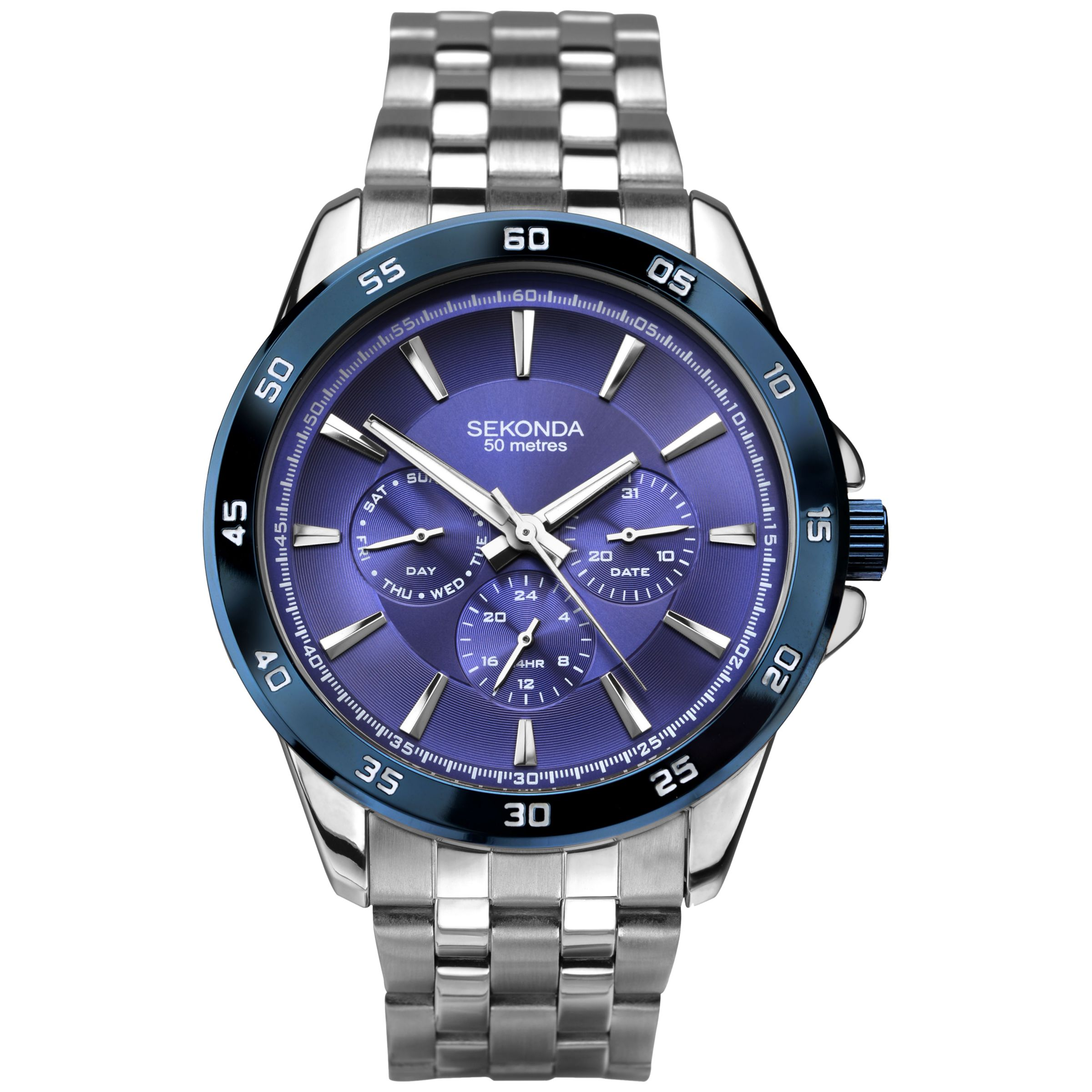 Sekonda Sekonda 1391.27 Men's Chronograph Bracelet Strap Watch, Silver/Blue