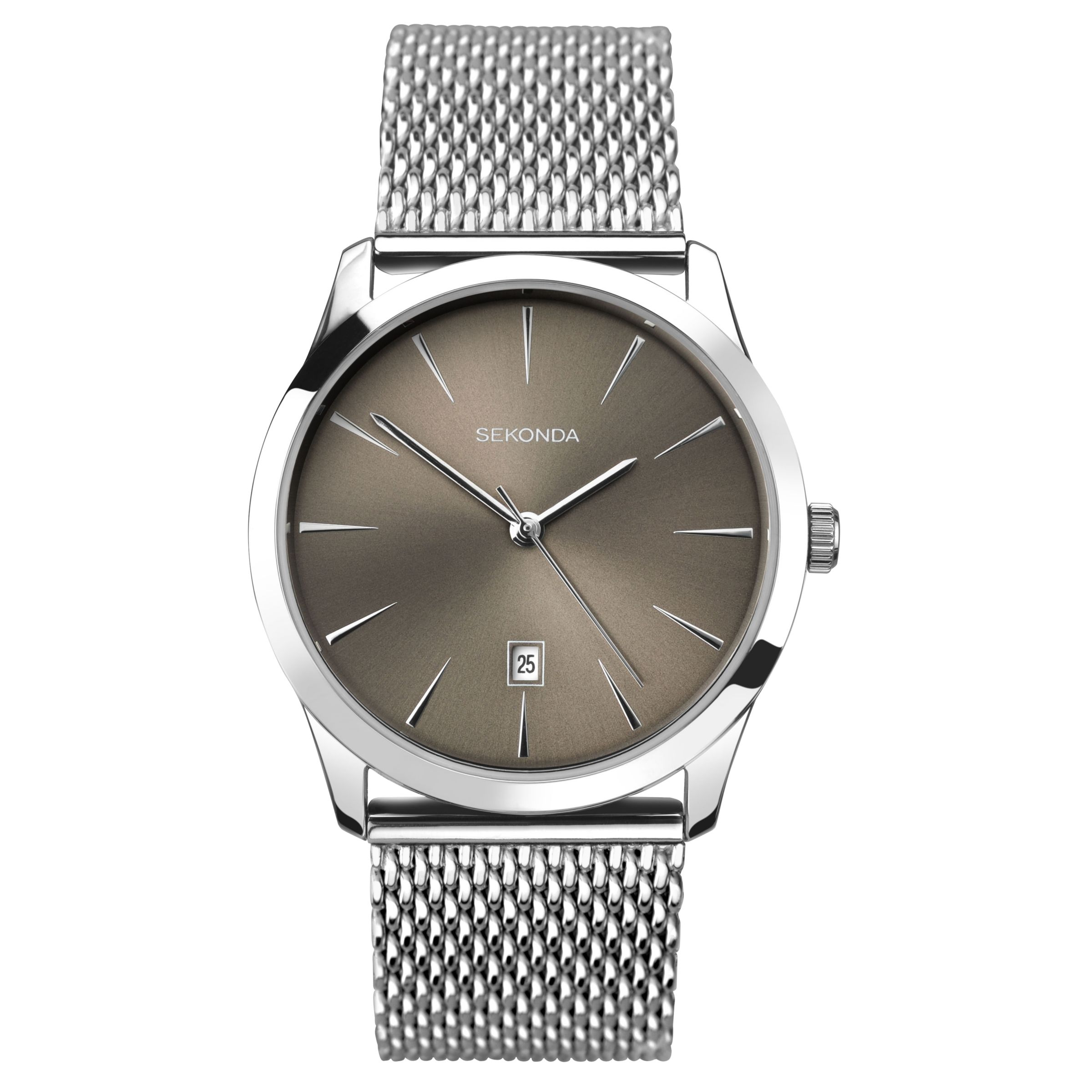 Sekonda Sekonda 1587.27 Men's Date Mesh Bracelet Strap Watch, Silver/Grey