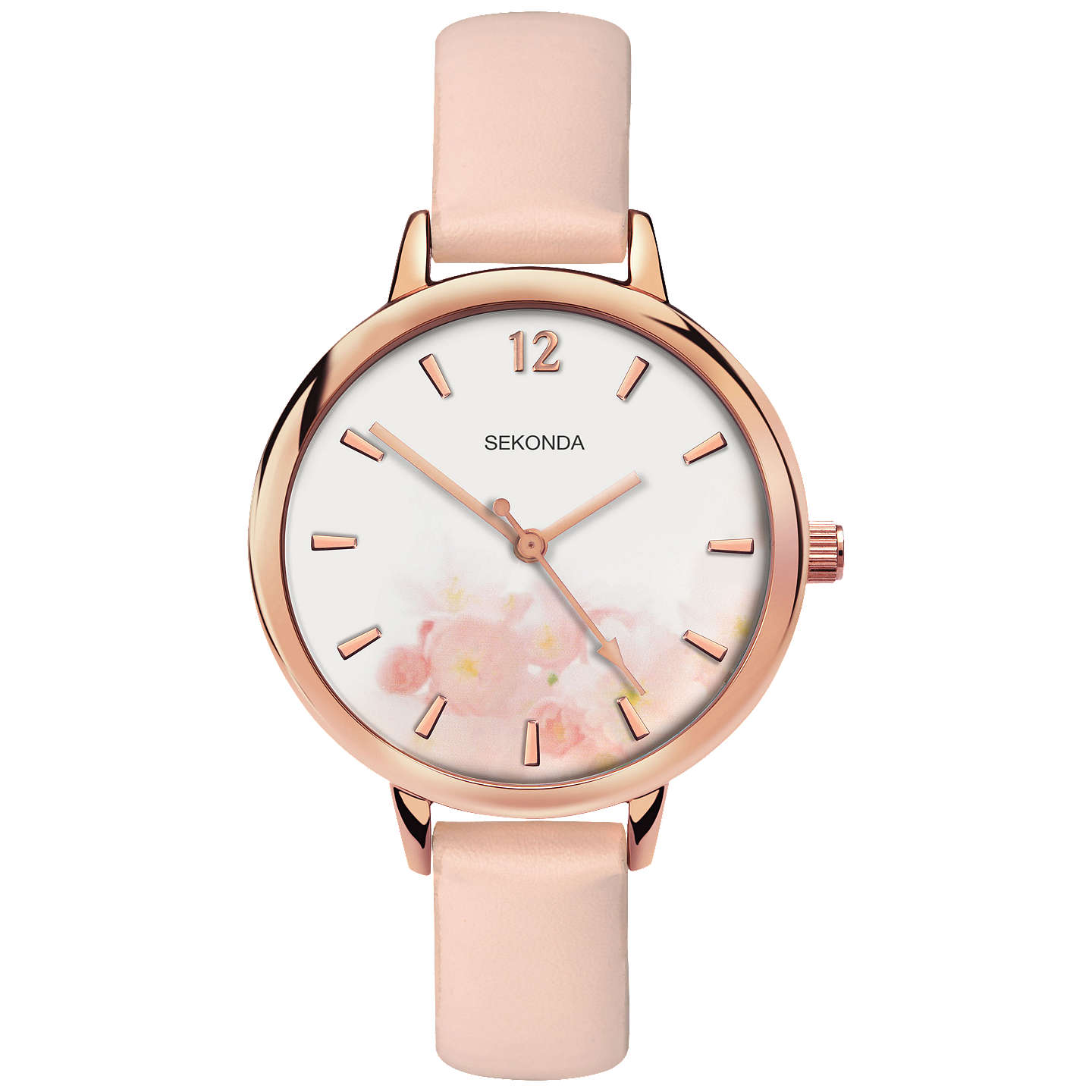 BuySekonda 2624.27 Women's Floral Faux Leather Strap Watch, Pale Pink/White Online at johnlewis.com