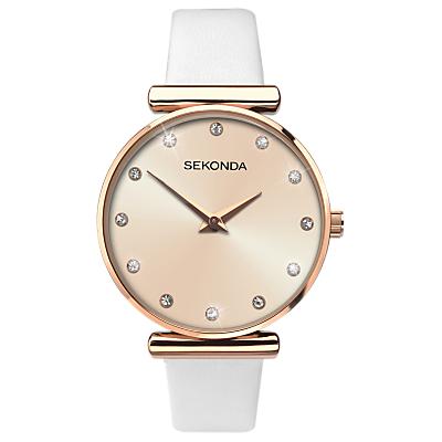 Sekonda 2472.27 Women's Sparkle Leather Strap Watch, White/Gold