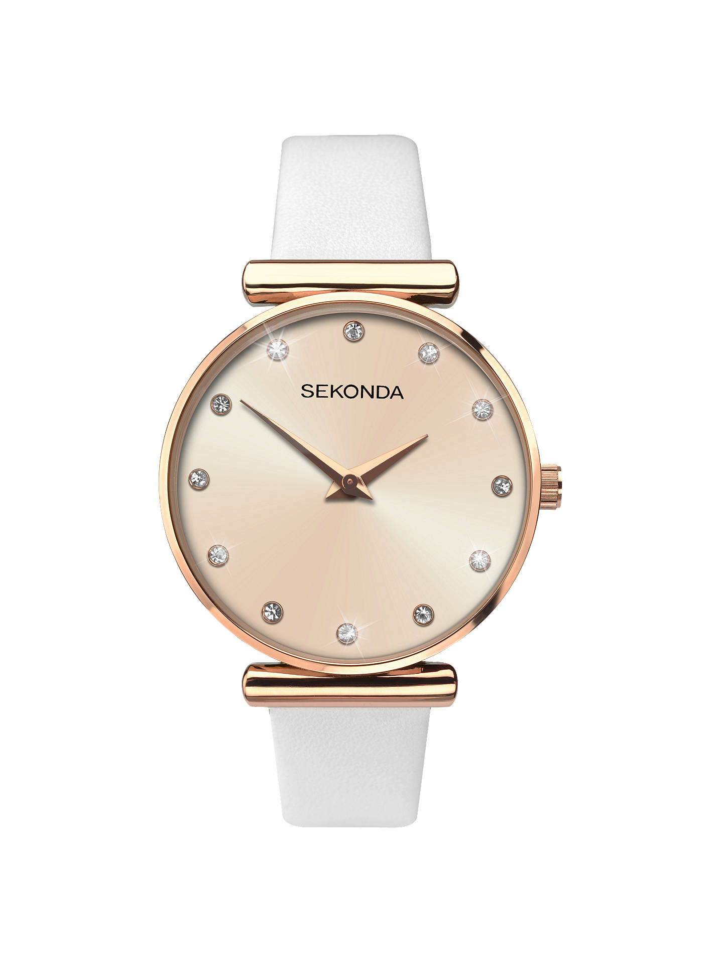 65904195ac Buy Sekonda 2472.27 Women's Sparkle Leather Strap Watch, White/Gold Online  at johnlewis.