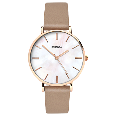 Sekonda 2634.27 Women's Faux Leather Strap Watch, Dark Mink/White