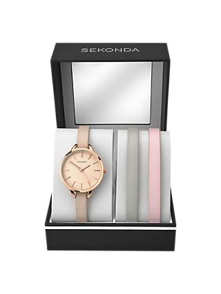 Sekonda 2629G.65 Women's Double Leather Strap Watch Gift Set, Nude/Rose Gold