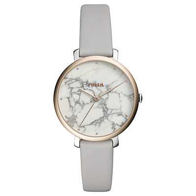Fossil ES4377 Women's Jacqueline Leather Strap Watch, Soft Grey/Marble