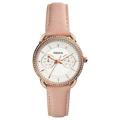 Fossil ES4393 Women's Tailor Chronograph Leather Strap Watch, Nude/White