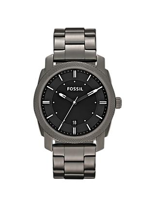Fossil FS4774 Men's Machine Date Bracelet Strap Watch, Gunmetal/Black