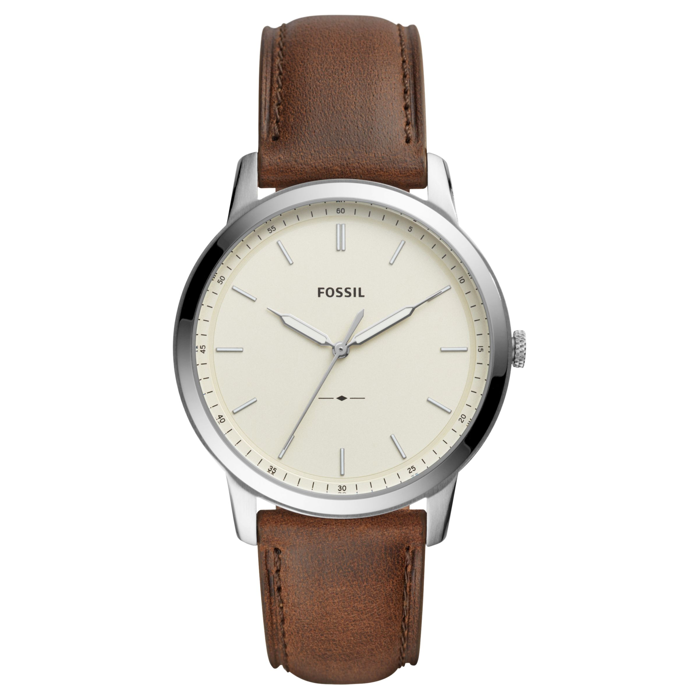 Fossil Fossil Men's Minimalist Leather Strap Watch, Brown/White FS5439
