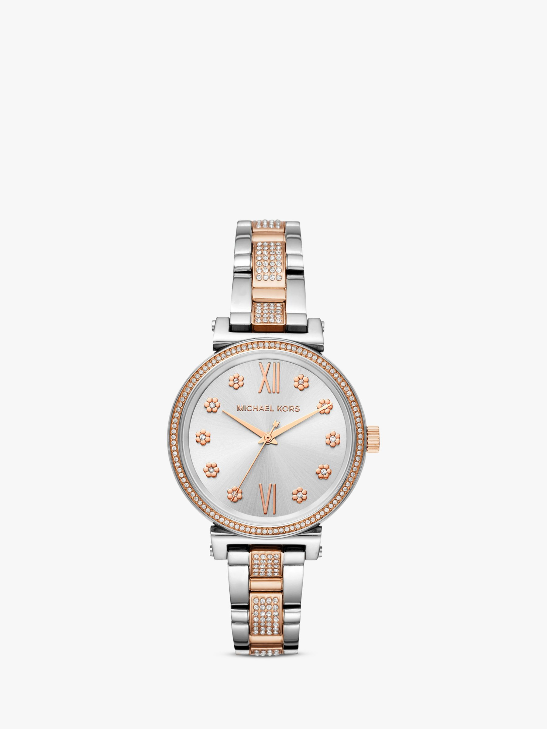 b71919c6d26a3 Michael Kors Women s Sofie Crystal Flower Index Bracelet Strap Watch at  John Lewis   Partners