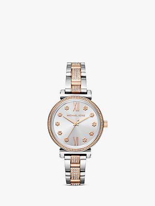 49aae6b68686 Michael Kors Women s Sofie Crystal Flower Index Bracelet Strap Watch