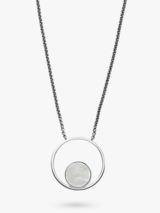 Skagen Agnethe Cut Out Mother of Pearl Round Pendant Necklace, Silver/White SKJ1098040