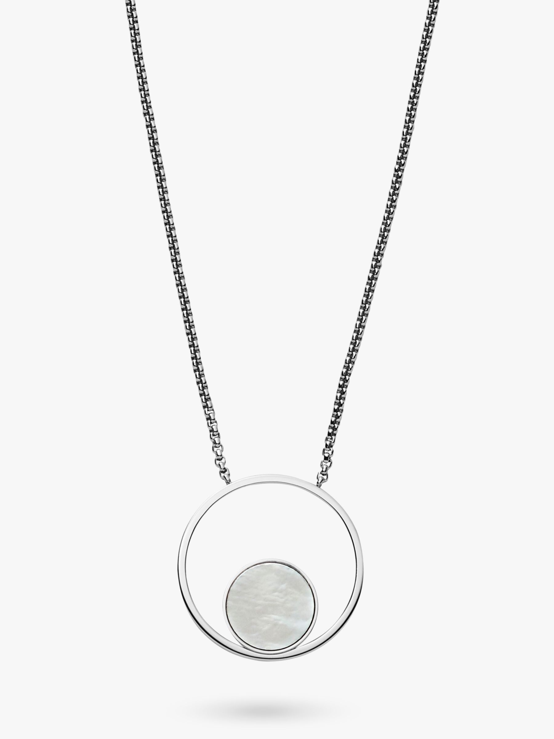 skagen Skagen Agnethe Cut Out Mother of Pearl Round Pendant Necklace, Silver/White SKJ1098040