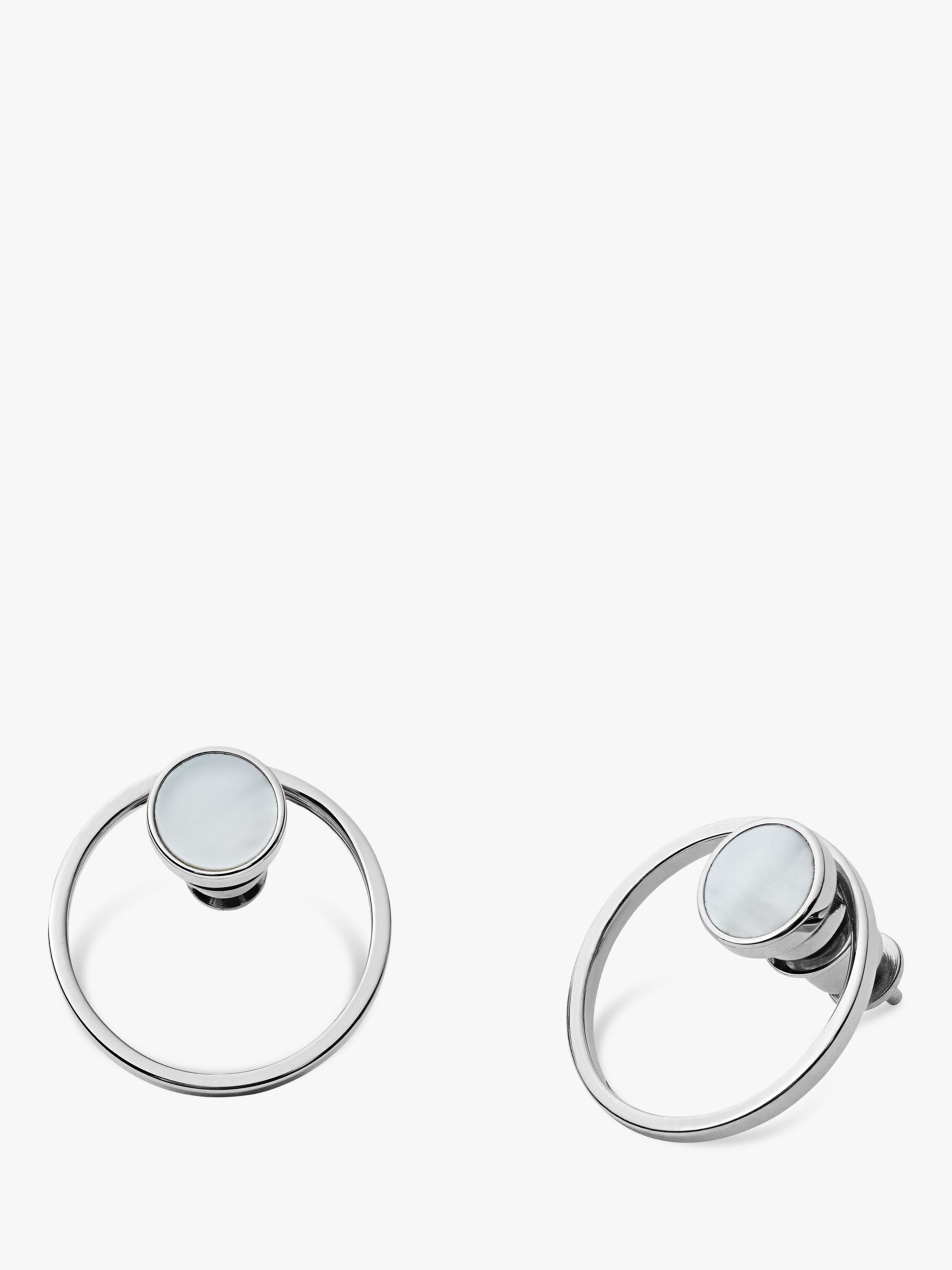 skagen Skagen Agnethe Cut Out Mother of Pearl Round Stud Earrings, Silver/White SKJ1096040