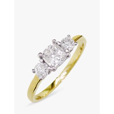 E.W Adams 18ct Yellow Gold and Platinum 3 Diamond Ring, 0.48ct