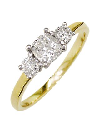 E.W Adams 18ct Yellow Gold and Platinum 3 Diamond Ring, 0.48ct