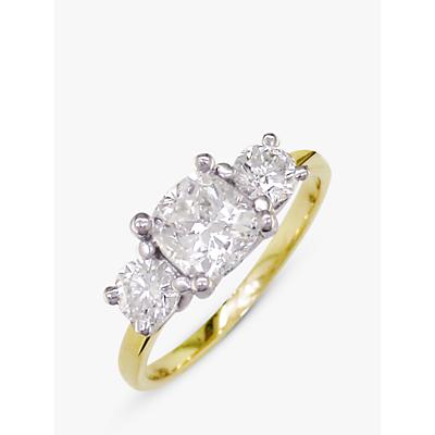 E.W Adams 18ct Yellow Gold and Platinum 3 Diamond Engagement Ring, 0.75ct