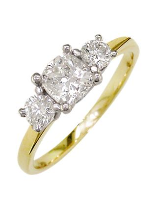 E.W Adams 18ct Yellow Gold and Platinum 3 Diamond Engagement Ring, 0.75ct