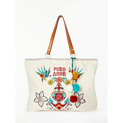 Star Mela Rosio Embroidered Tote Bag, Ecru/Multi