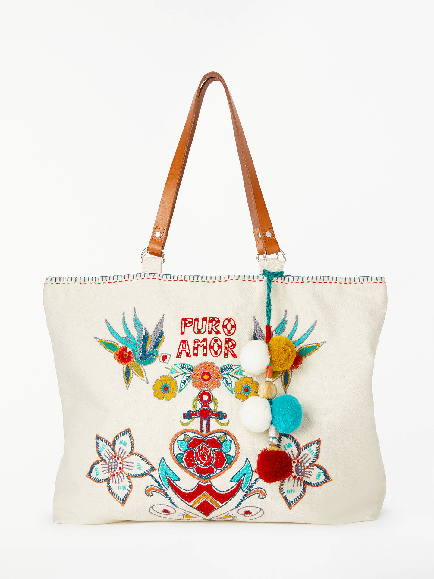 BuyStar Mela Rosio Embroidered Tote Bag, Ecru/Multi Online at johnlewis.com