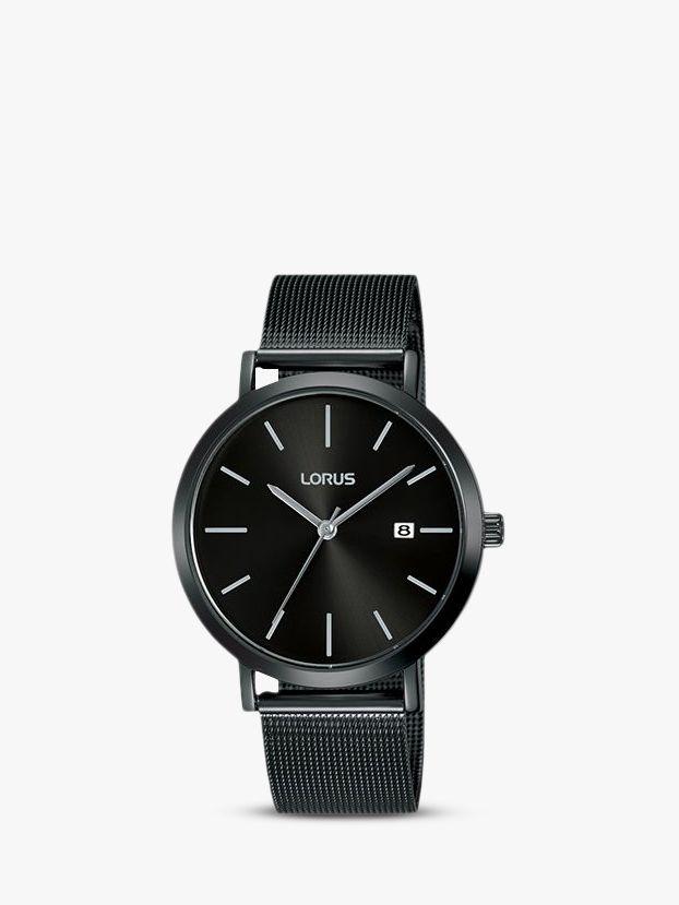 Lorus Lorus Men's Date Mesh Bracelet Strap Watch, Black RH943JX9
