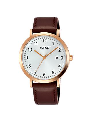 Lorus Men's Date Leather Strap Watch, Brown/White RH940JX9