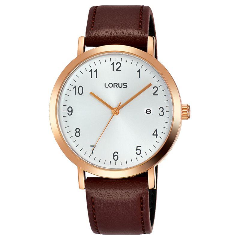 Lorus Lorus Men's Date Leather Strap Watch, Brown/White RH940JX9