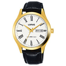Buy Lorus RXN54DX9 Men's Day Date Leather Strap Watch, Black/White Online at johnlewis.com