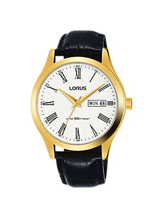 Lorus Men's Day Date Leather Strap Watch