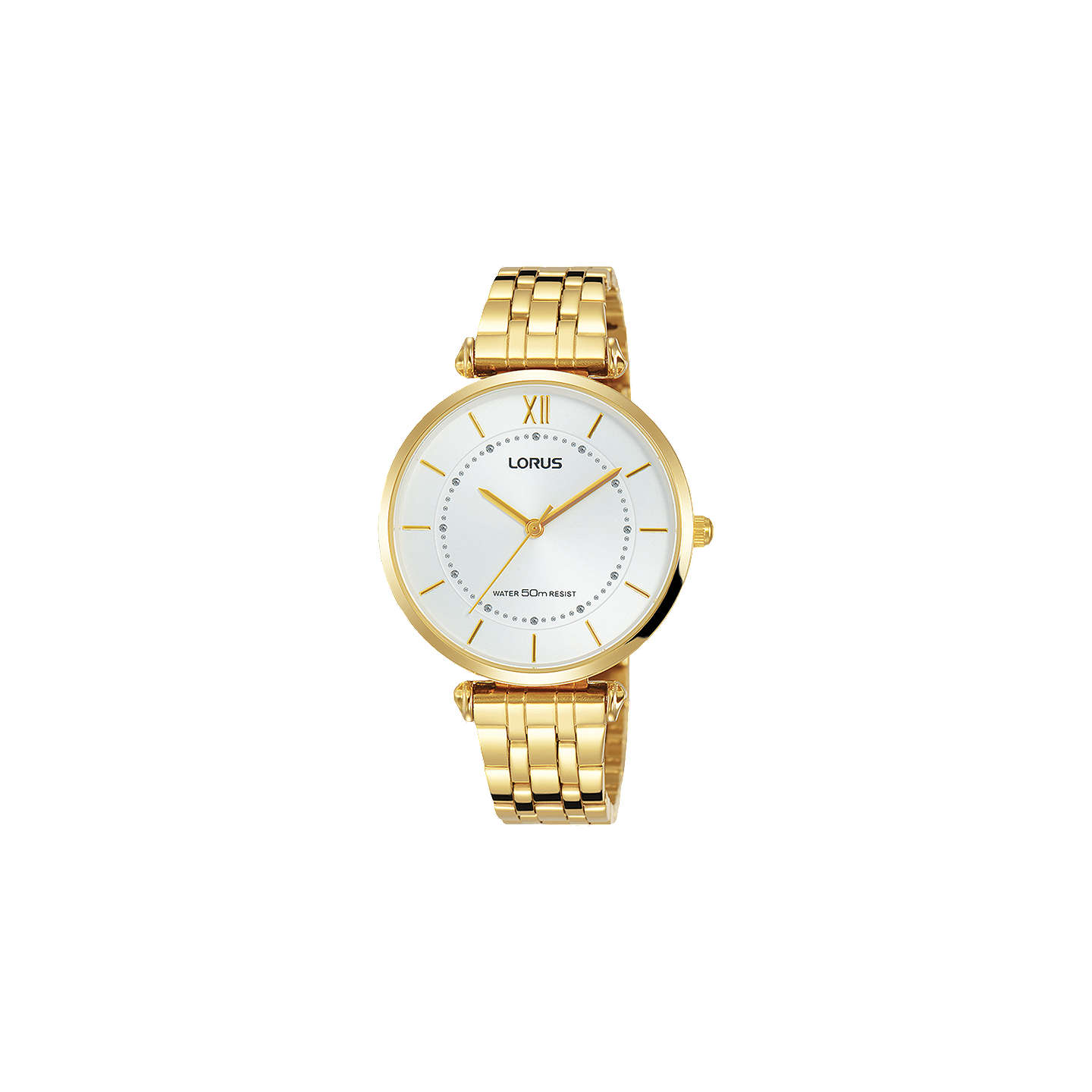 Lorus Women's Round Bracelet Strap Watch, Gold/White Rg292 Mx9 by Lorus