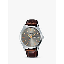Buy Lorus RXN61DX9 Men's Day Date Leather Strap Watch, Brown/Silver Online at johnlewis.com