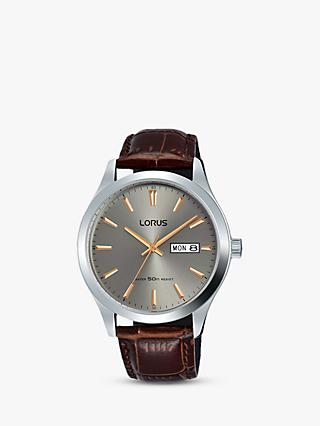 Lorus Men's Day Date Leather Strap Watch, Brown/Silver RXN61DX9
