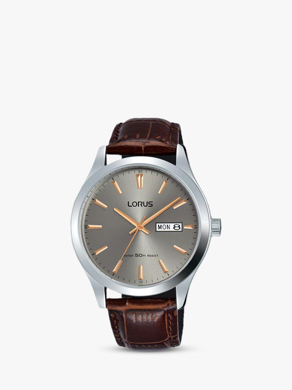 Lorus Lorus Men's Day Date Leather Strap Watch, Brown/Silver RXN61DX9