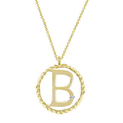 London Road 9ct Gold Diamond Initial Pendant Necklace