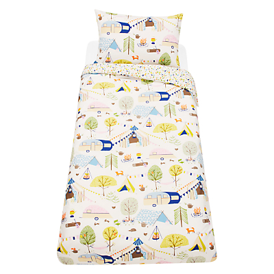 little home at John Lewis Camping Duvet Cover and Pillowcase Set, Single, Multi