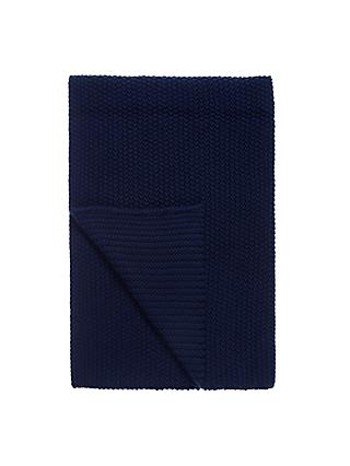 little home at John Lewis Marlow Chunky Knitted Throw, Midnight Blue