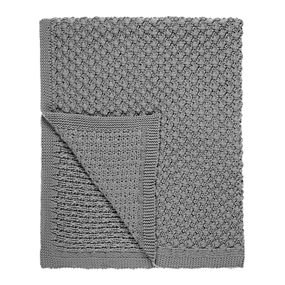 little home at John Lewis Kendall Chunky Knitted Throw, Blue/Grey
