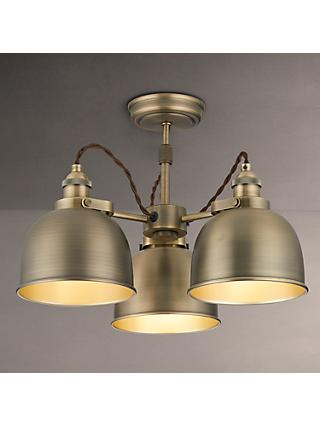 John Lewis & Partners Baldwin Semi Flush 3 Arm Ceiling Light